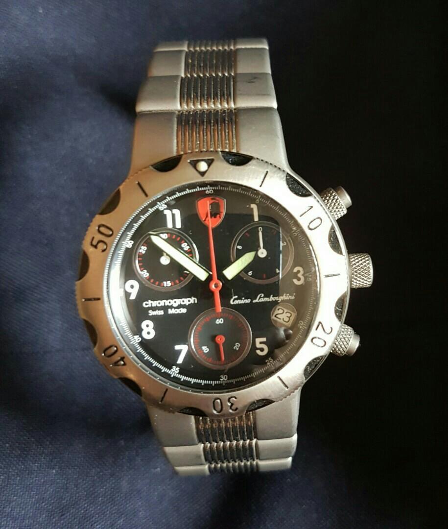 Tonino Lamborghini Titanium Swiss Made Ronda Movement Black Dial Chronograph Watch with Date
