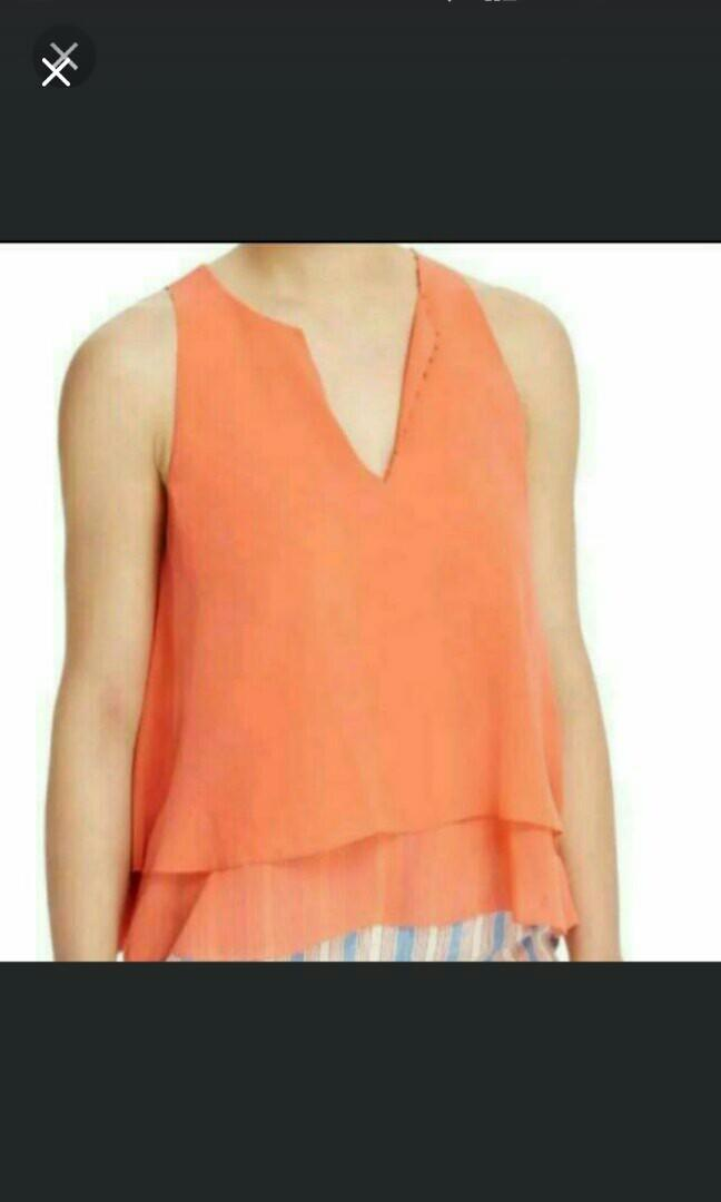 TORY BURCH 100%SILK TOP NEW WITH TAGS US4. Coral Colour. Price USD225. REDUCED. Still Neg For Quick Buyer