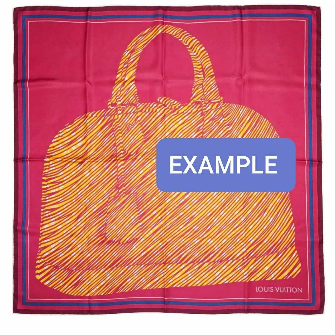VINTAGE LOUIS VUITTON MONOGRAM ALMA BAG DESIGN LARGE SILK SCARF - SIZE: 90 X 90 CM APPROX. - LV JAPAN EXCLUSIVE DESIGN - HAS BEEN SENT FOR DRY CLEANING, SO EDGES WRINKLED - OVERALL GOOD - WITHOUT TAGS - (LV BIG SILK  SCARVES  RETAIL AROUND RM 3000+)