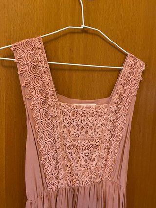 ANIREK粉色花瓣無袖洋裝
