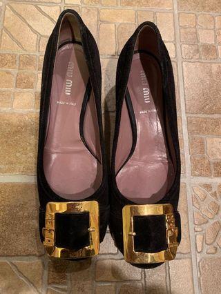 Black Miu Miu Suede Block Heels SIZE 36.5