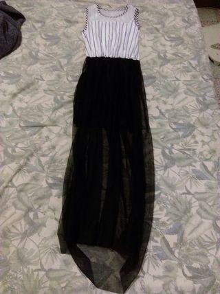 氣質條紋燈籠長裙