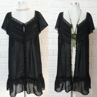 BLACK BUTTONDOWN SHEERED SHORT DRESS OR COVER UP