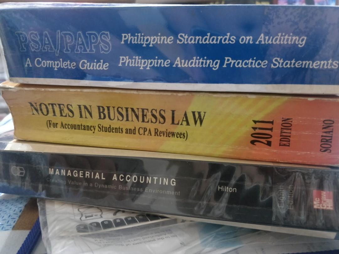 Accounting books (Notes in Business Law, Managerial Accounting, PSA book)