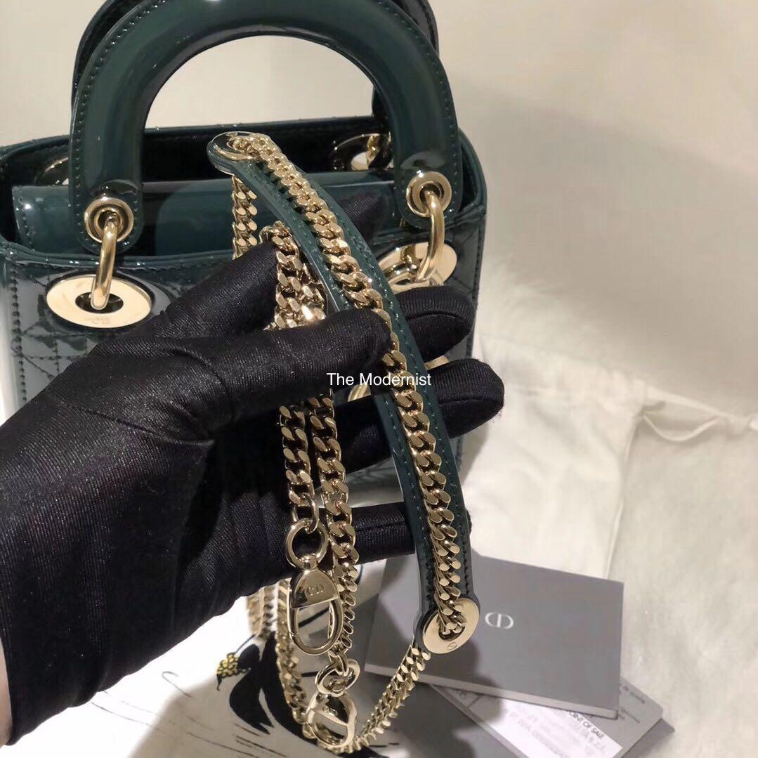 Authentic Pre-loved Christian Dior Mini Lady Dior Emerald Green Patent Leather Gold Hardware