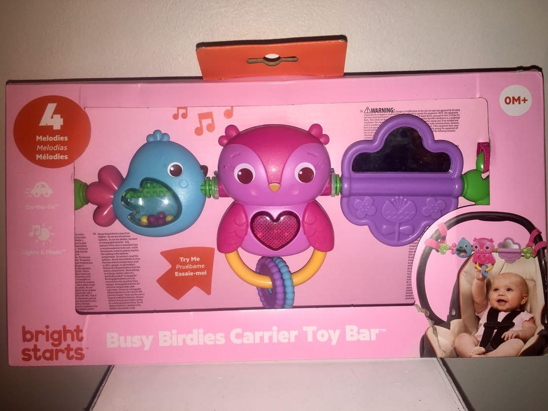 Brand new in packaging bright starts busy birdies carrier toy bar