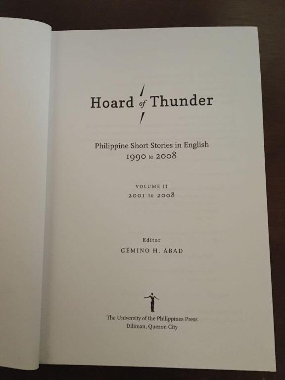 Hoard of Thunder: Philippine Short Stories in English from 1990 to 2008 (Volume 2)