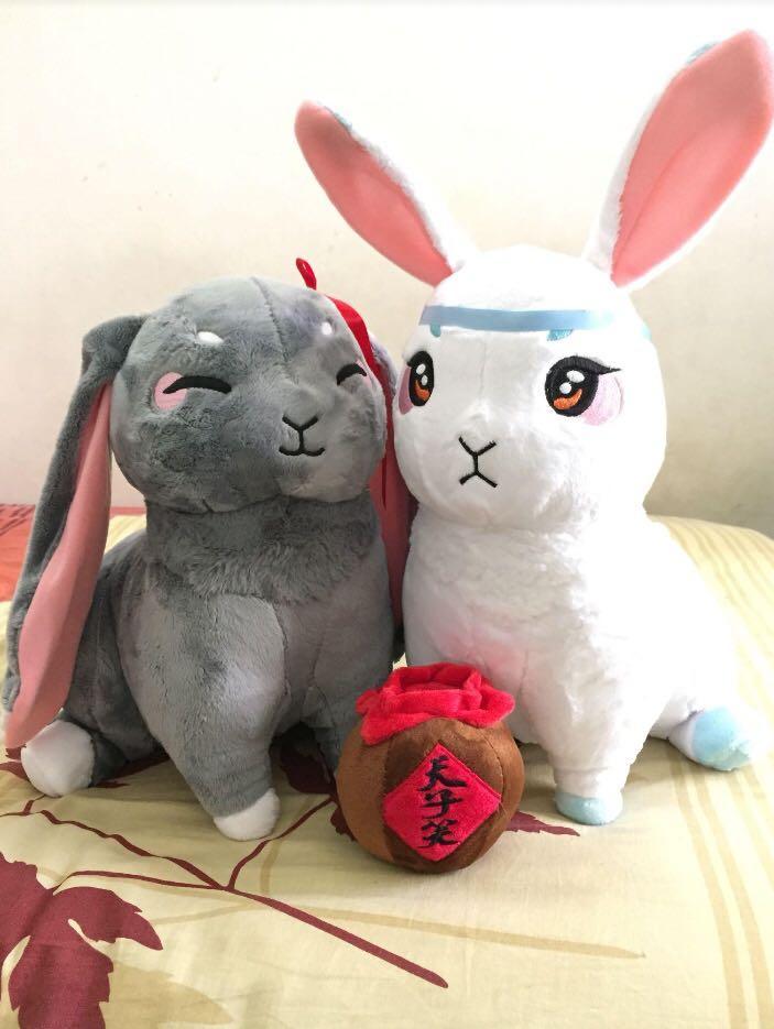 Mo Dao Zu Shi Large Cute Bunny Plushies + Free small Emperor's Smile plush Lan Wangji & Wei Wuxian / 魔道祖师可爱兔子娃娃玩偶蓝忘机&魏无羡+免费小个的天子笑
