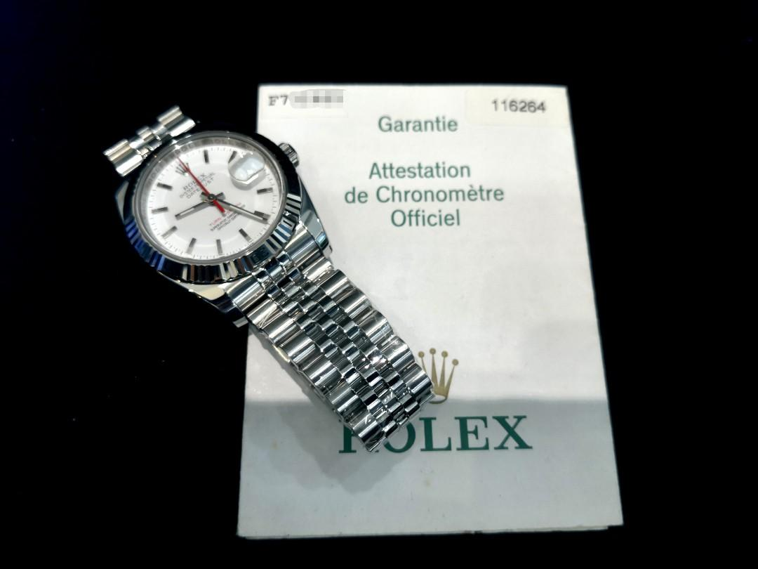 PREOWNED ROLEX Datejust Turn-O-Graph, 116264, Rolesor ,Oystersteel and White Gold, 36mm, Men-size, F Series @ Year 2004 Mens Watch
