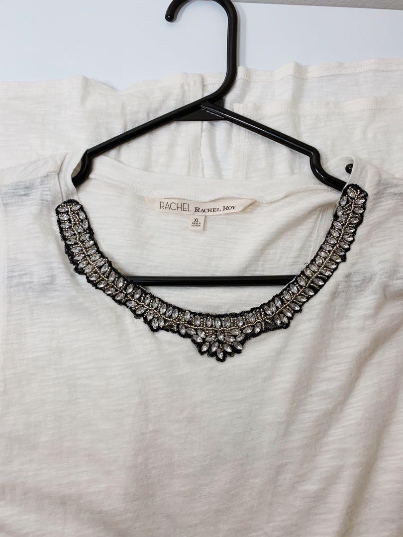 Rachel Roy Designer Short Sleeve White Dress Shirt With Embelishments
