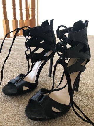 Black Lace Up 4 Inch Steve Madden Heels (Size 6)