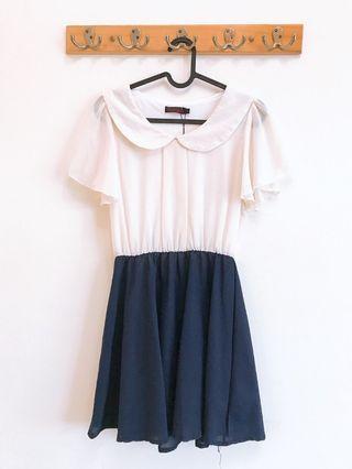 雪紡米白深藍洋裝