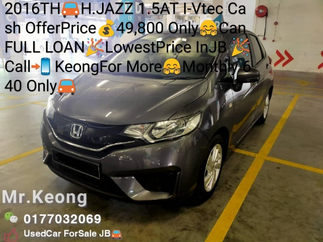 2016TH🚘HONDA JAZZ 1.5AT I-Vtec Cash OfferPrice💰49,800 Only🤗Can FULL LOAN🎉LowestPrice InJB 🎉Call📲 KeongFor More🤗Monthly 640 Only🚘