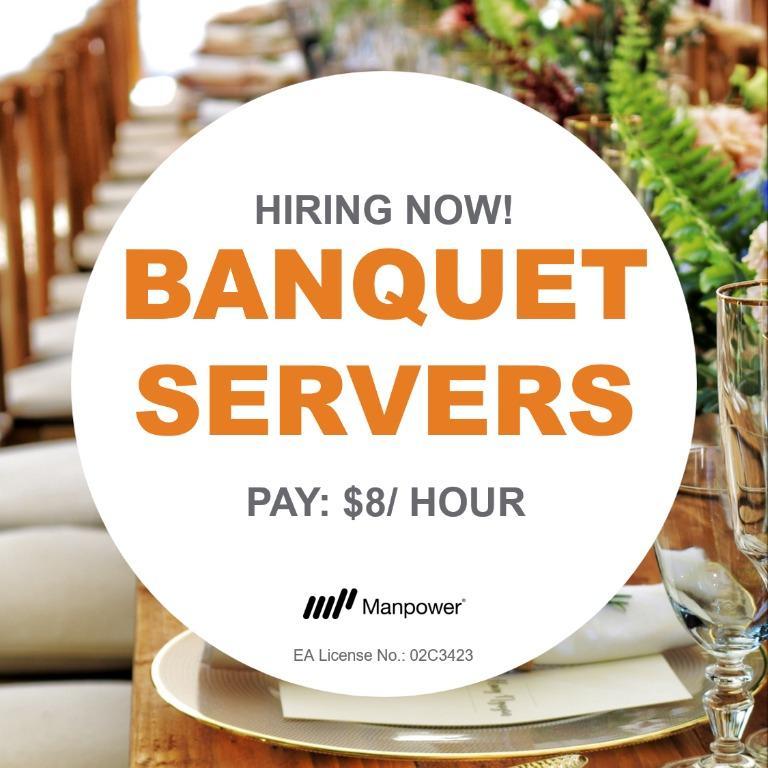 $8/hr! Banquet Servers needed at Suntec!