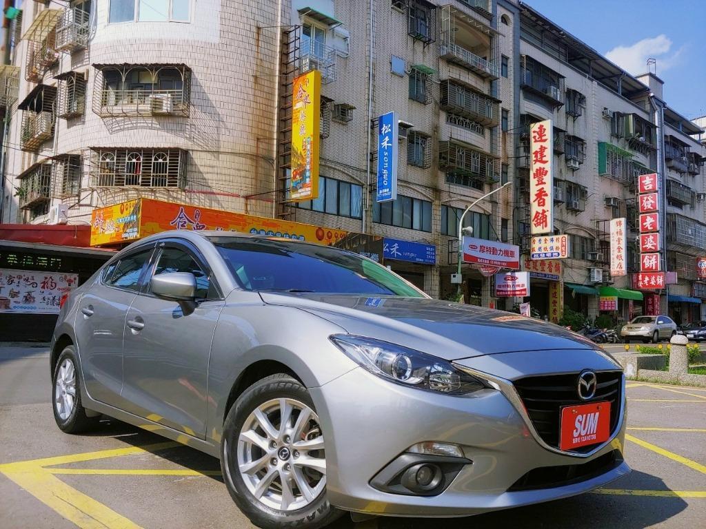 全台最便宜 實車實價 正2016 魂動Mazda3 2.0頂級款 特殊水泥灰 全額貸款 找錢車 非自售 一手車