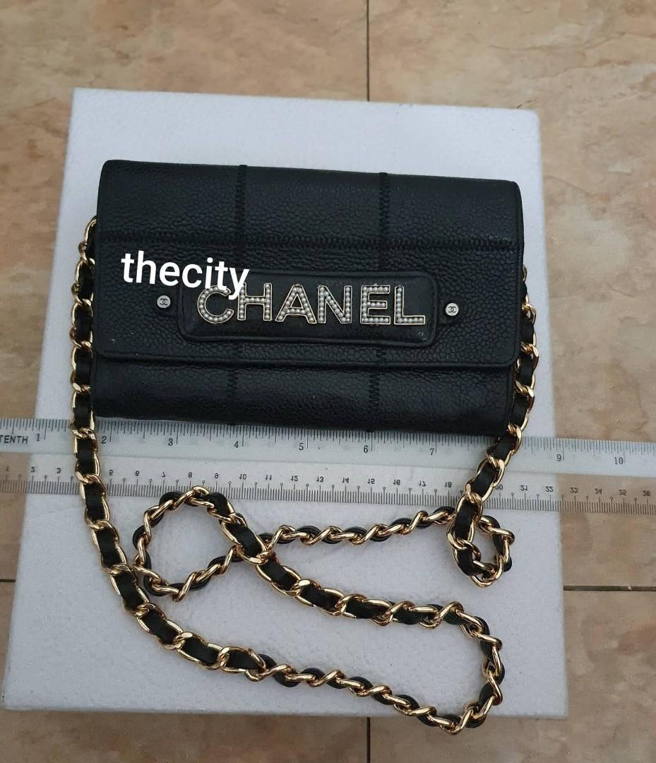 CHEAP DEAL - RARE DESIGN -  AUTHENTIC CHANEL BLACK CAVIAR LEATHER-  ORGANIZER POUCH / WALLET- CHANEL PEARL LOGO LETTERING DESIGN - CLEAN INTERIOR - GOLD HARDWARE- COMES WITH EXTRA ADD STRAP