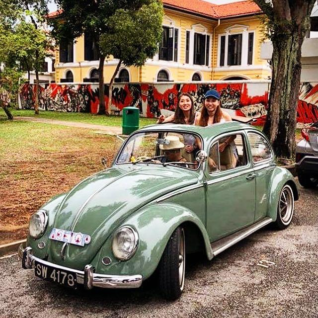 Classic 1969 Green Volkswagen Ragtop Beetle for Rental