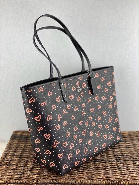 Coach Reversible City Tote with Crayon Hearts Print in Black Pink Multi