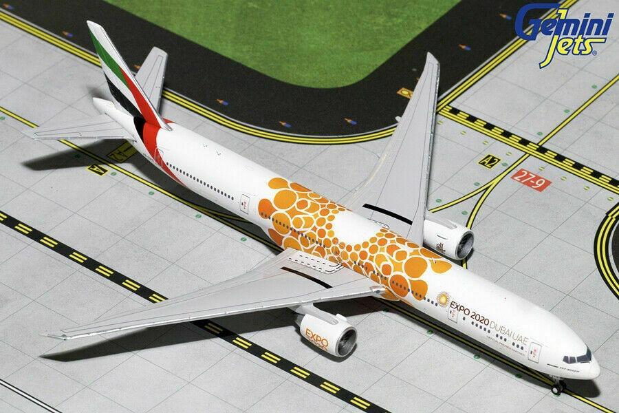 """Gemini Jets 1:400 Emirates Boeing 777-300ER """"Orange Expo"""" GJUAE1816 1:400 Scale"""