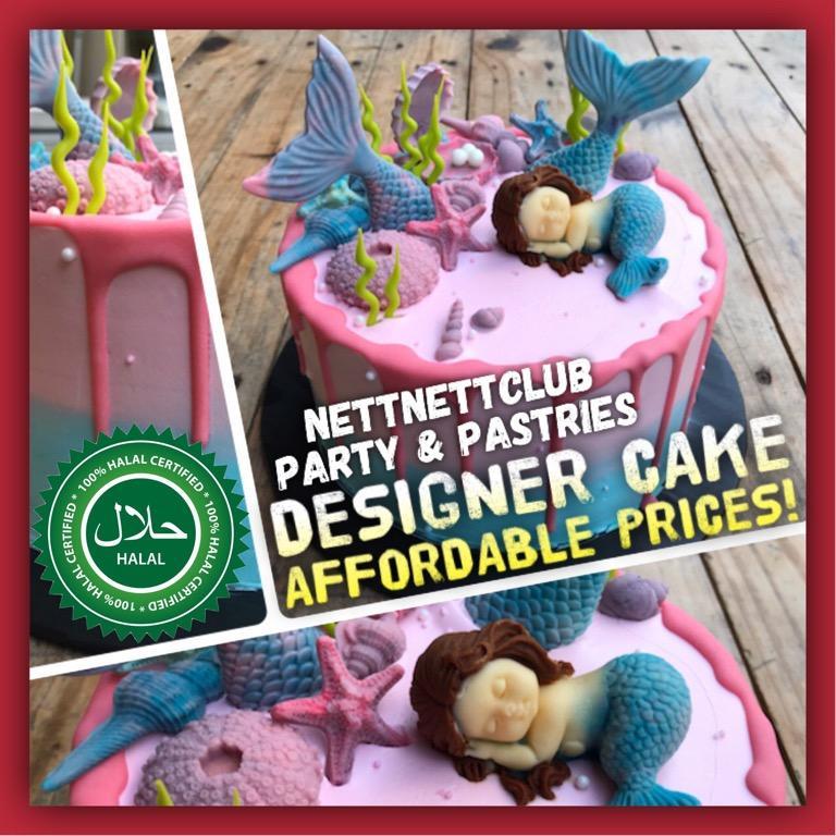 Halal Sleeping Mermaid Customised Theme Cake / Baby Shower / Birthday / Anniversary / New Year / Event Party Celebration etc!