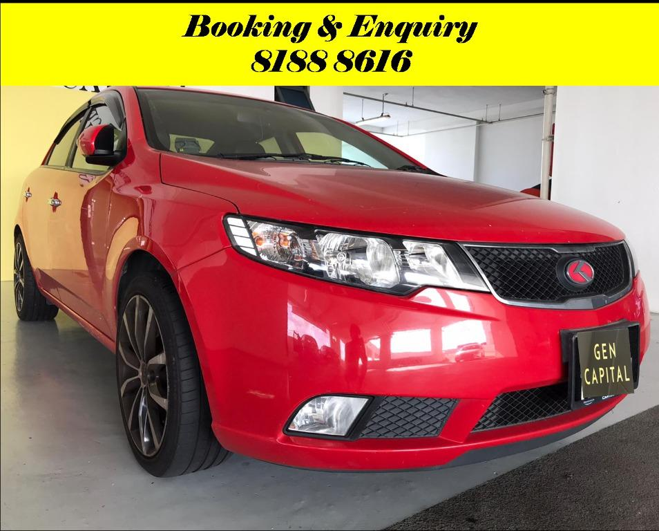 Kia Cerato Forte 1.6A HAPPY MONDAY JUST IN!! Most Fuel Eficient & Spacious. Cheapest rental in town with just $500 Deposit driveoff immediately. Whatsapp 8188 8616 now to reserve!