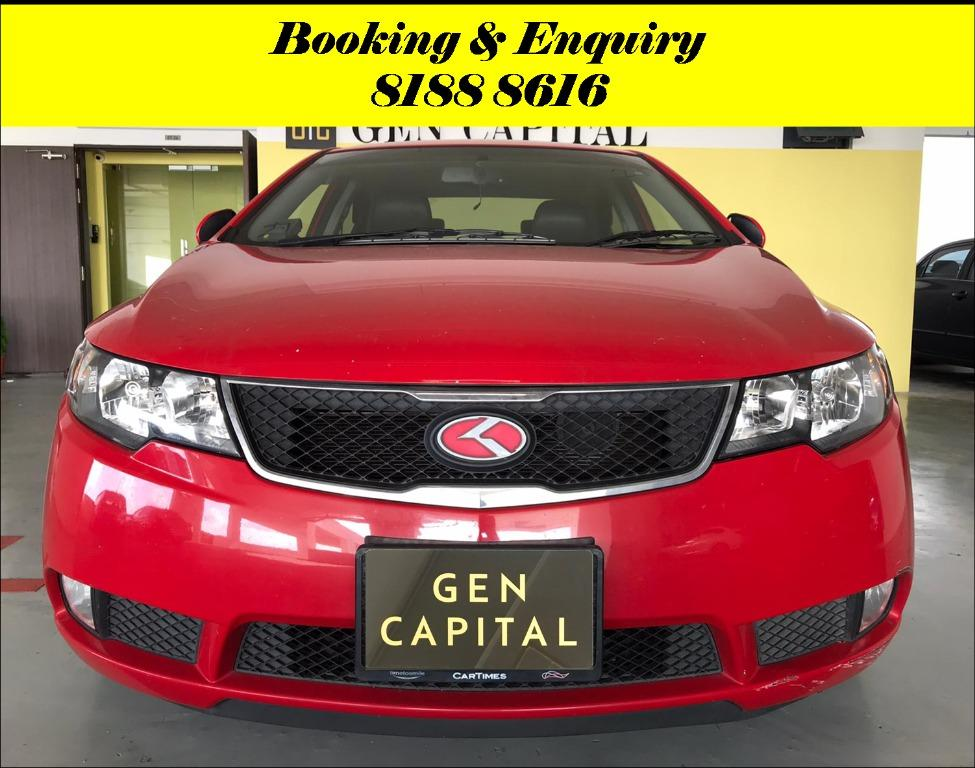 Kia Cerato Forte 1.6A HAPPY MONDAY!! JUST IN with the most Fuel Eficient & Spacious car. Cheapest rental in town with just $500 Deposit driveoff immediately. Whatsapp 8188 8616 now to reserve!