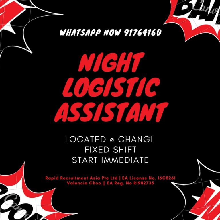 Logistic Assistant @ Changi (UP $2000 | Night Shift)