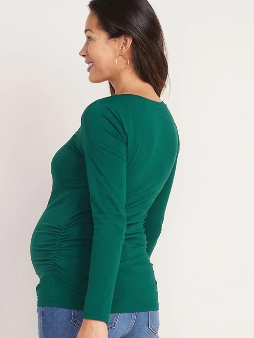 Maternity Fitted V-Neck Long-Sleeve Shirt (Size S)