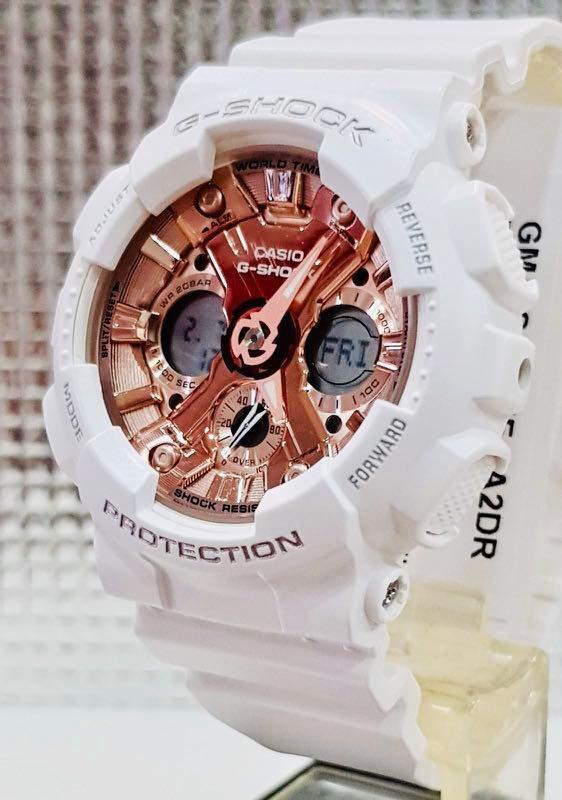 NEW🌟GSHOCK UNISEX DIVER SPORTS WATCH : 100% ORIGINAL AUTHENTIC CASIO BABY-G-SHOCK ( BABYG ) : GMA-S120MF-7A2 (WHITE ROSE🌹GOLD)