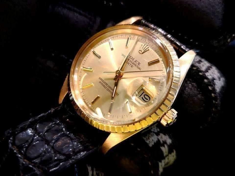PREOWNED ROLEX Oyster Date, 15038, Full Solid Yellow Gold, 34mm, R Series @ Year 1987 Mens Watch
