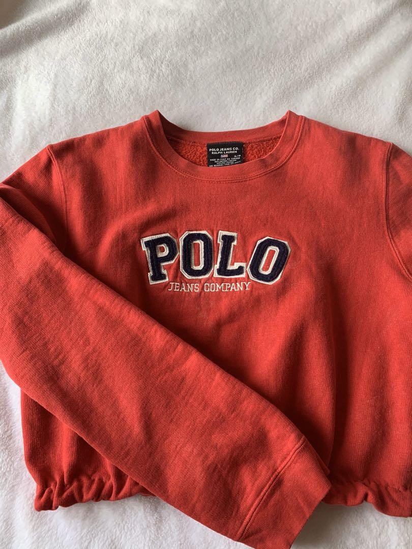 Reworked Cropped Polo Ralph Lauren Red Crewneck Sweatshirt