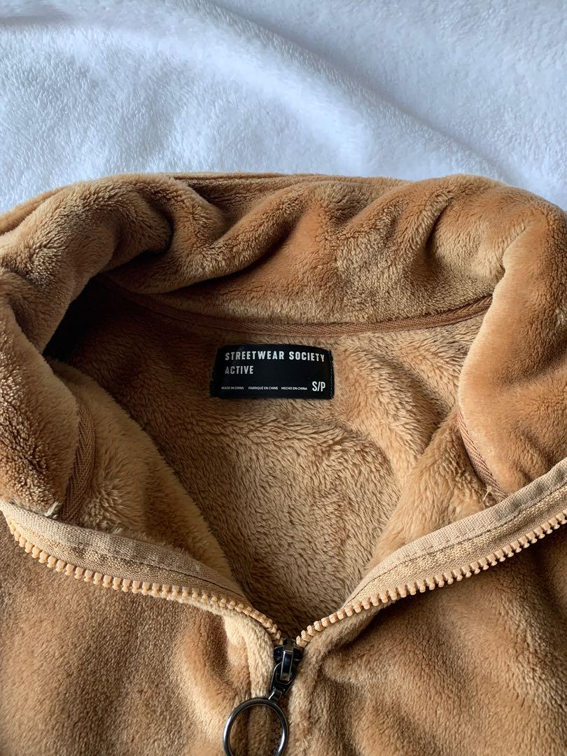 Soft Cropped Brown Faux-Fur Quarter Zip Sweater with Elastic