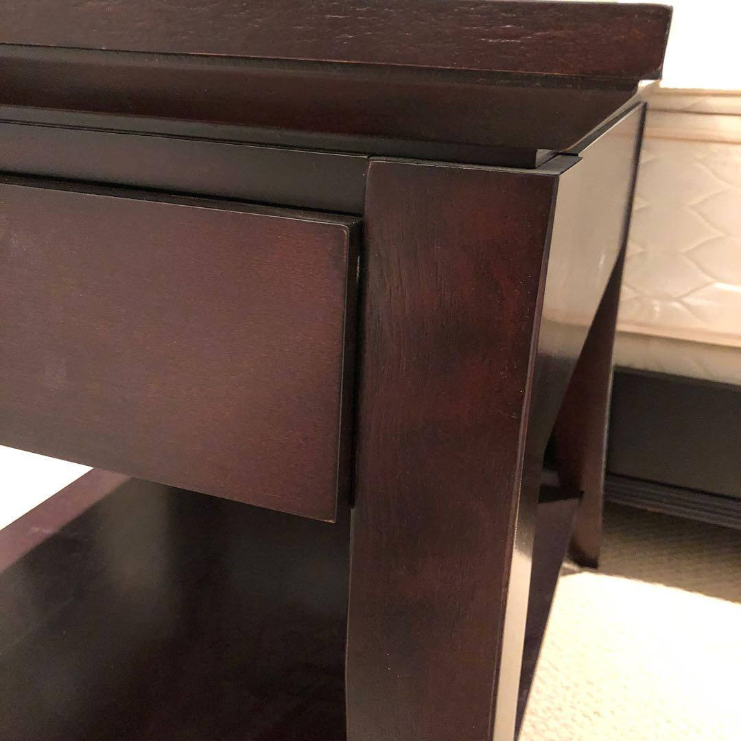 Solid Wood Queen Bed Set + End Tables, Boxspring, Mattress