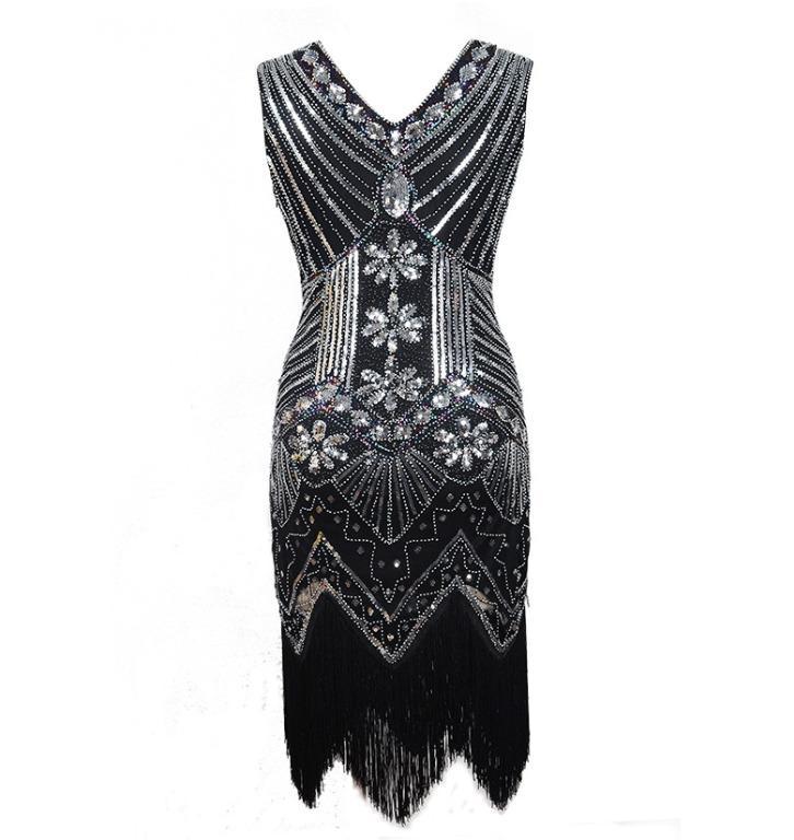 Vintage 1920s Flapper Great Gatsby Dress Fancy Costumes V-Neck Cap Sleeve Sequin Fringe Party Midi Dresses