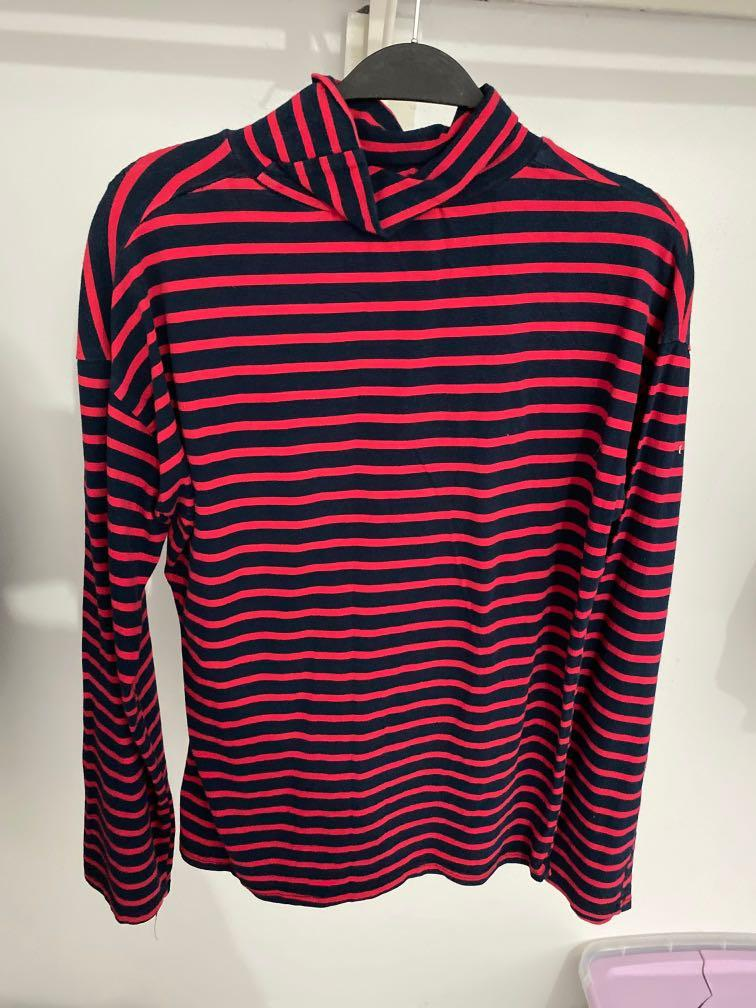 Yes Style Red and Blue Stripped Turtle Neck Long Sleeve