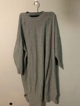 灰色薄針織長版毛衣