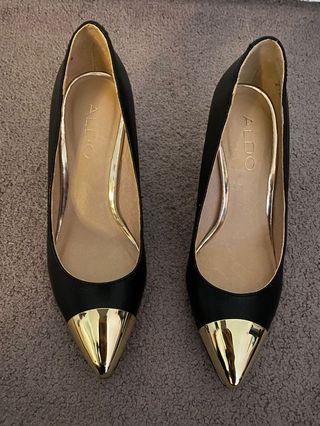 Aldo Black Gold cap toe heels