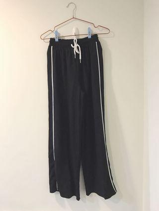 運動風率性側邊條鬆緊高腰寬褲