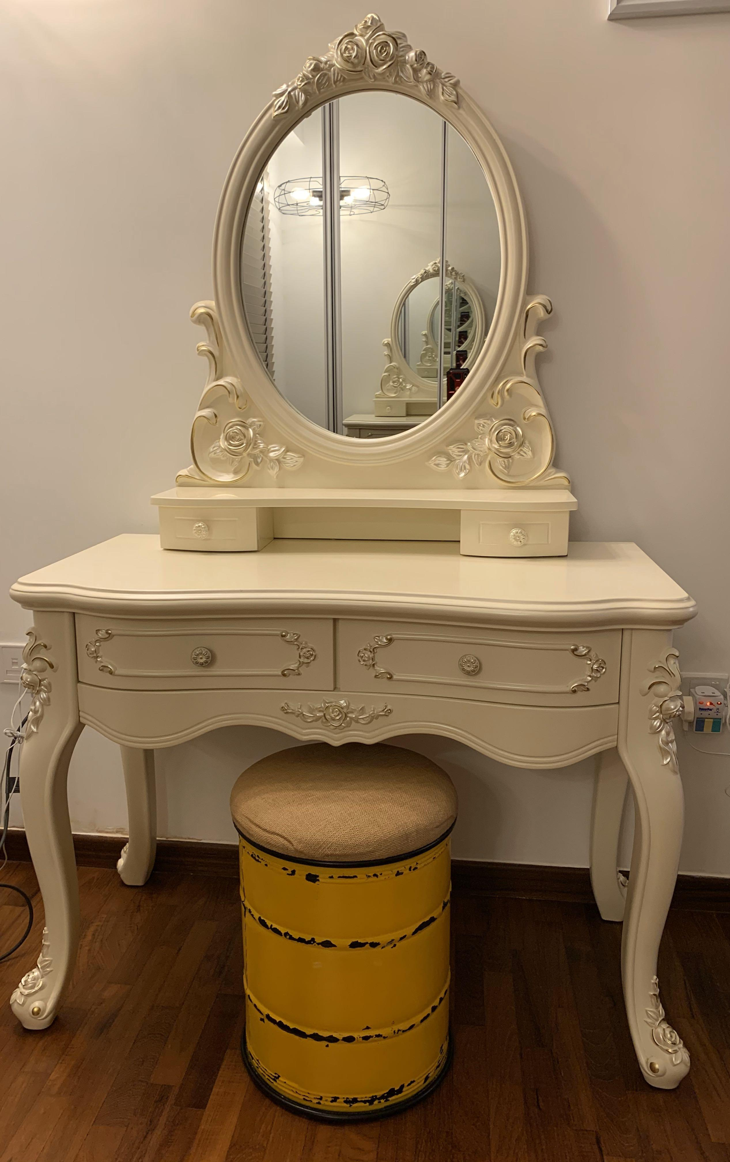 Antique Dressing Table Round Mirror Furniture Shelves Drawers On Carousell