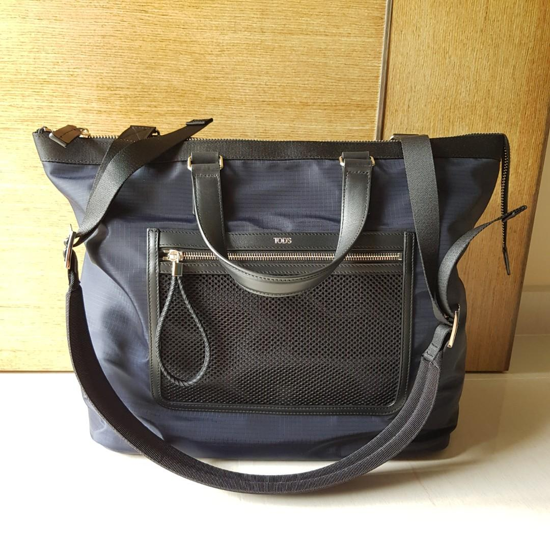 Authentic Preloved Tod's Unisex Blue/Black Tote Bag with Strap in Excellent Condition Full Set (Instalment plan available!)