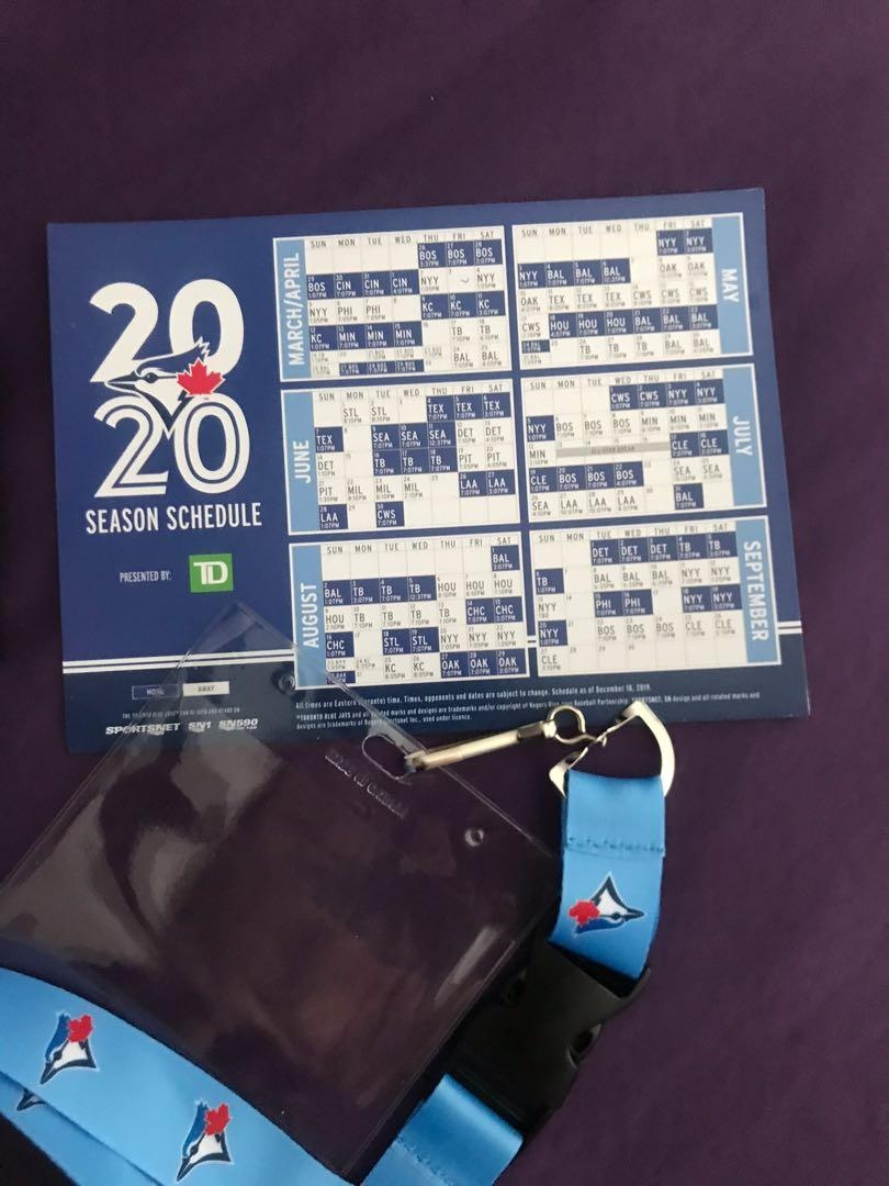 Blue Jay's bobblehead, magnet schedule, card holder phone and lanyard