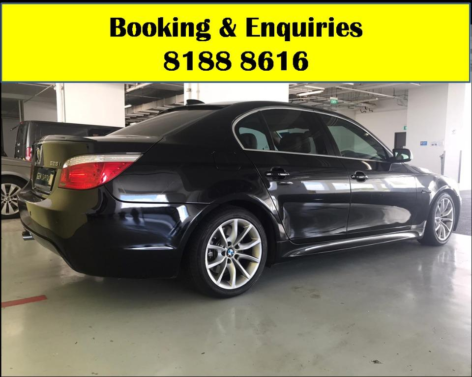 BMW 525i XL HAPPY TUESDAY!! Best thing comes in pairs. Get your family, relative, friends to rent together to enjoy further discounts with 2 free days rental!! $500 Deposit driveoff immediately. Whatsapp 8188 8616 now!