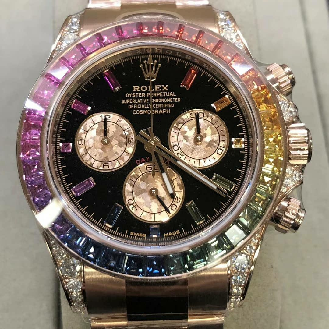 Brand New ROLEX Cosmograph Daytona Solid Everose Gold Black Dial Sapphires Bezel 116595RBOW