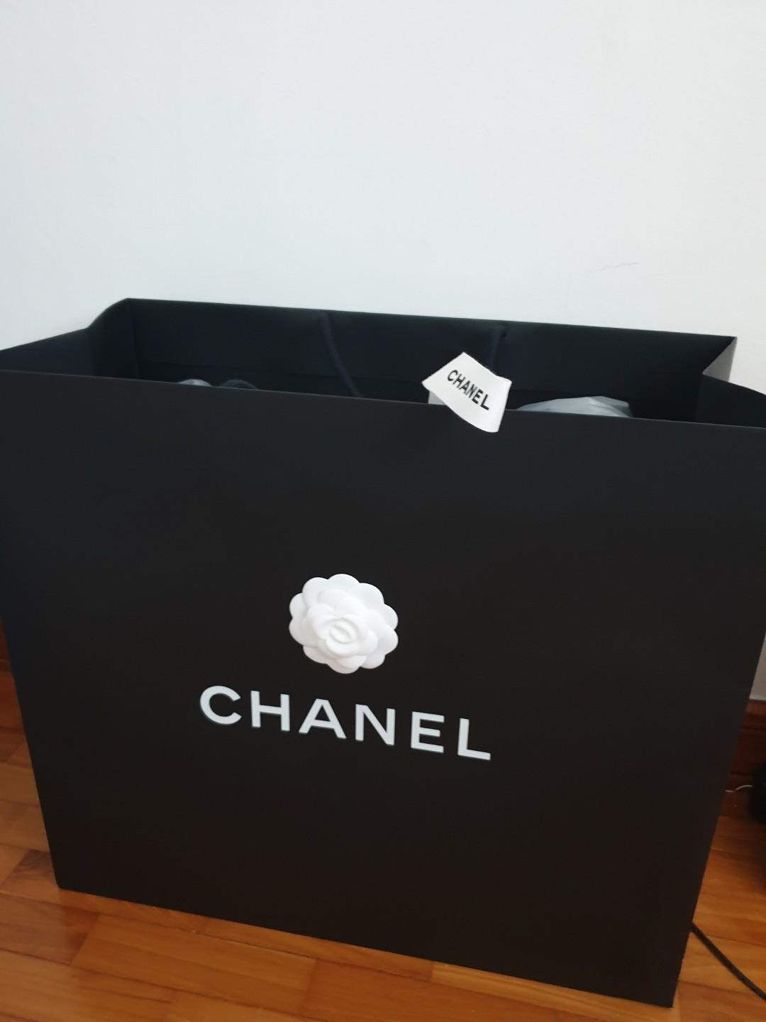 Chanel brand new paper bag jumbo large size paper bag carrier black package authentic genuine white camelia flower