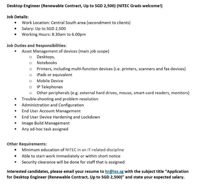 Desktop Engineer (Renewable Contract) (NITEC Grads welcome!)