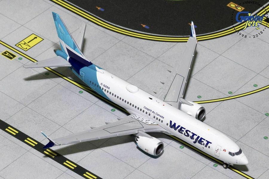 Gemini Jets 1:400 Scale Westjet Boeing 737 MAX 8 GJWJA1822 1:400 Scale