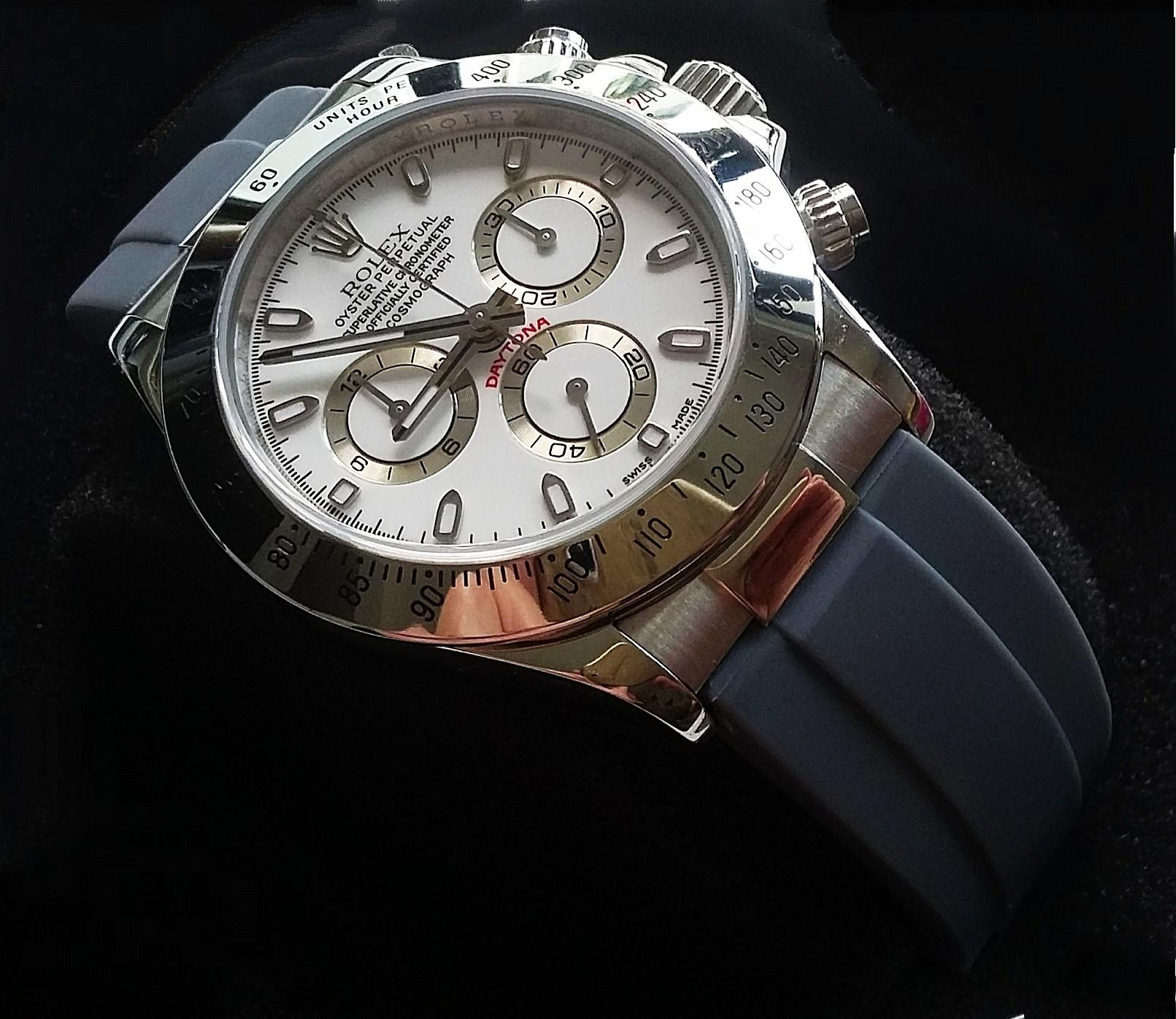 20mm GULL GREY RUBBER STRAP W STAINLESS STEEL ENDLINK & CLASP FIR ROLEX DAYTONA (PRICE INCLUDES FITMENT)