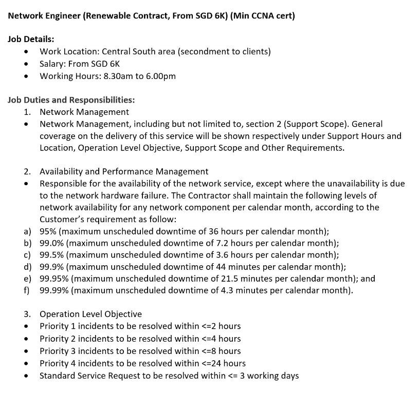 IMM AVAIL: Network Engineer (Renewable Contract, From SGD 6K) (Min CCNA cert)