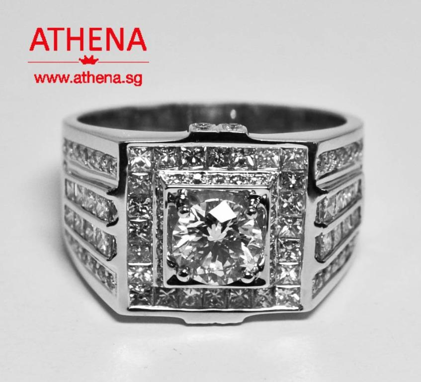 JW_DR_1309 JEWELLERY 18K WG DIAMOND RING D1-1.02CTS ( G/VS1 3 EX. ) D62-0.70CTS PD42-1.00CTS 12.61G [ GIA REPORT ]