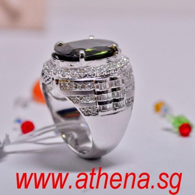 JW_SR_1432 JEWELLERY 18K W/G GREEN SAPPHIRE WITH DIAMOND RING D72-1.50CTS TD42-0.84CTS GREEN SAPPHIRE1-11.67CT WITH CERT 18.03G